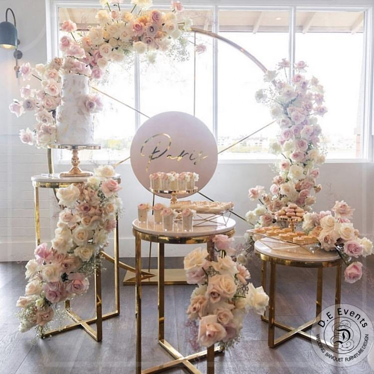 Design metal stand gold panel wedding backdrop stage for events