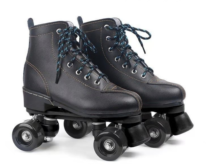 New design adjustable toe stop 4 wheel black quad roller skates