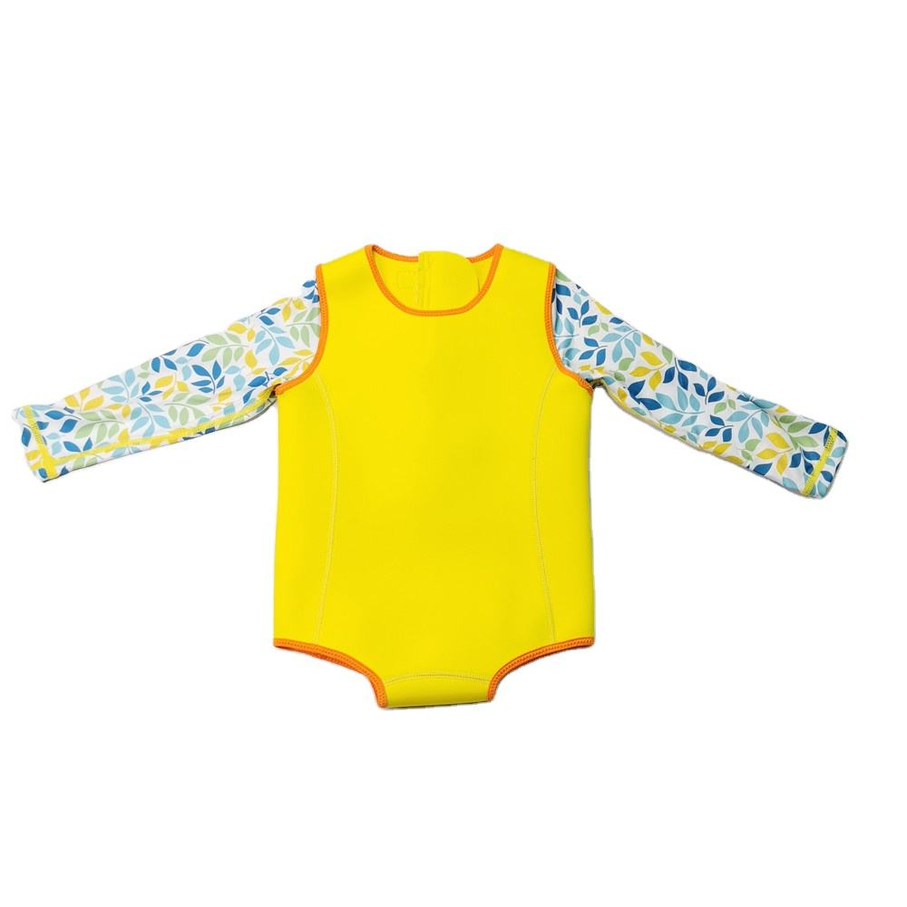New Design Leaf Digital Printing 2.0mm Neoprene Baby Swimming Shorty Wetsuit
