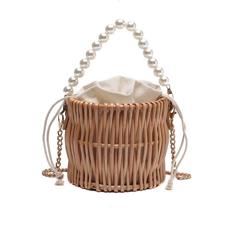 Factory Outlet Ladies Fiber rattan Basket Carry Bag Handles mini Wicker Case for Traveling
