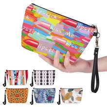 Colorful cartoon print makeup organizer bag for women pu leather ladies travel cosmetic pouch freeshipping
