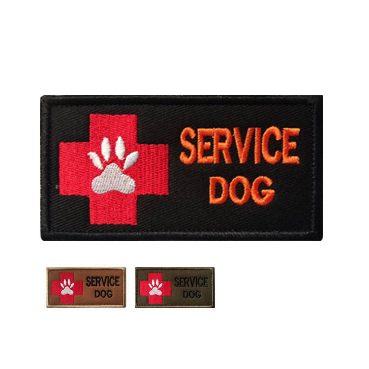 Service dog embroidered patch dog paw badge tactical vest badge K9 cross logo custom backing hook and loop