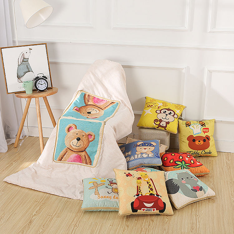 Multifunctional cotton cartoon quilt blanket portable foldable square throw pillow home office car air conditioning quilt 40*40C