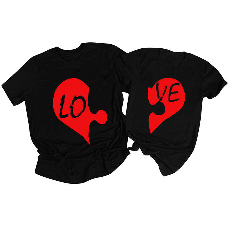 Hot-sell Valentine's Gifts Wholesale Personalized Valentine's Day Couples LO VE Black T-shirts