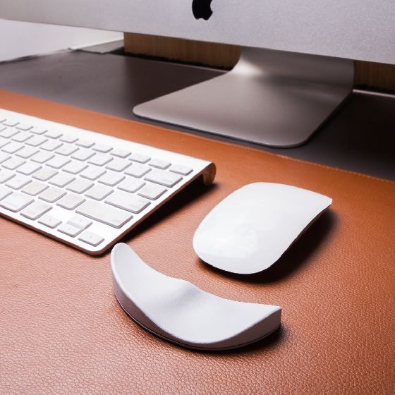 Office Ergonomic Mouse Pad Hand Crafted Oval Computer Mouse Pad Desk Laptop Mouse Pad Birthday Gifts Leather Mouse Pad with Wrist Rest