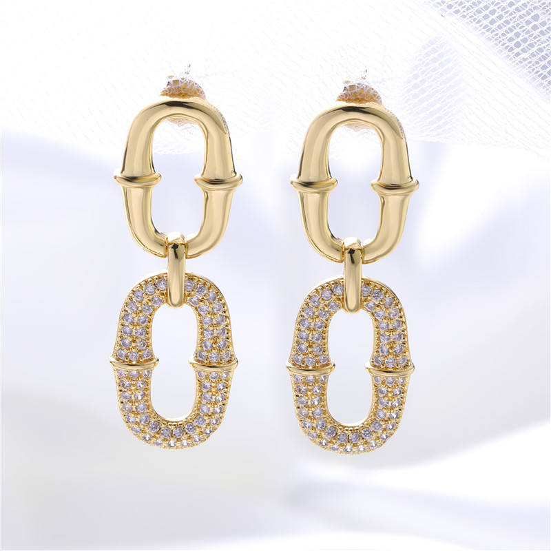 U-shaped copper zircon earrings elegant atmosphere gold-plated ladies earrings