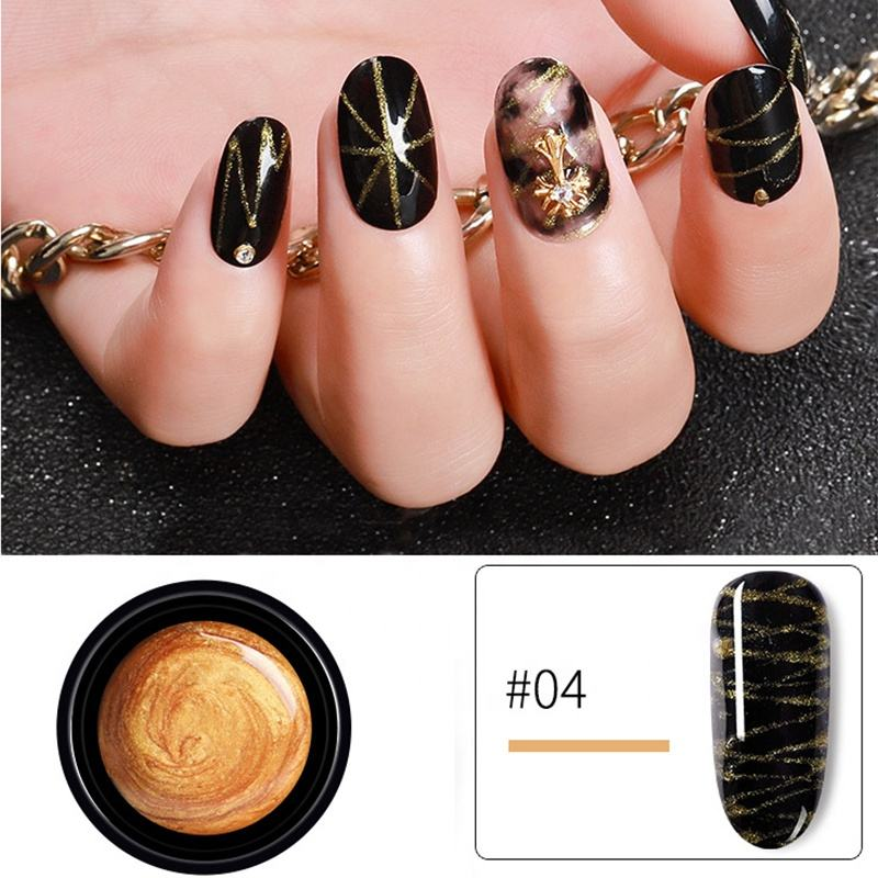 Hot New Arrivals 5ml Spider Nail Gel For Nail Salon Black White Red Gold Silver 6 Color For Choose Drawing Painting Gel Polish