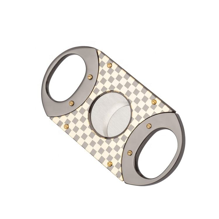 Double Blade Custom Luxury Stainless Steel Electroplated Sharp Cigar Cutter