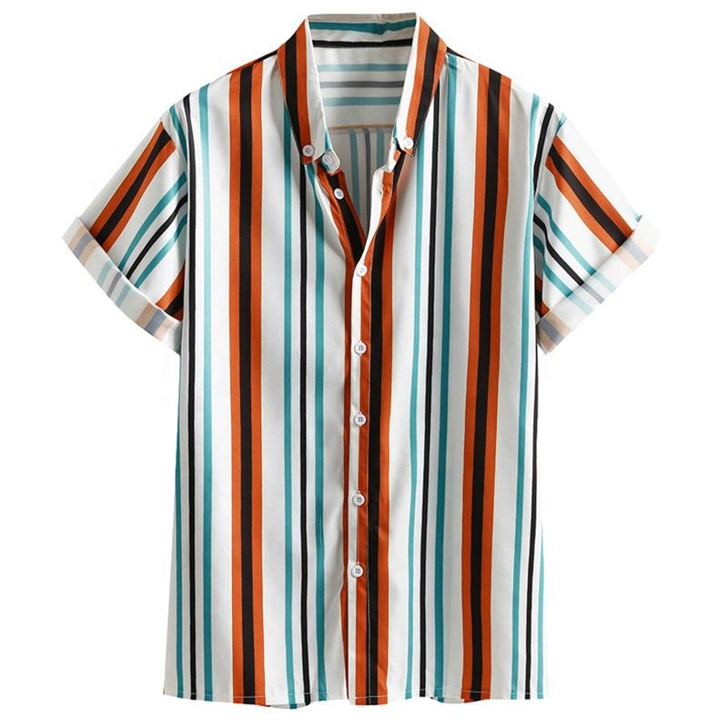 summer hawaian pure cotton regular loose half sleeve striped comfortable cool casual bright colored printing men beach shirt