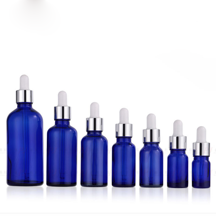 5ml 30ml 100ml Blue Glass Dropper Bottle Vials With Pipette For Cosmetic Essential Oil Bottles