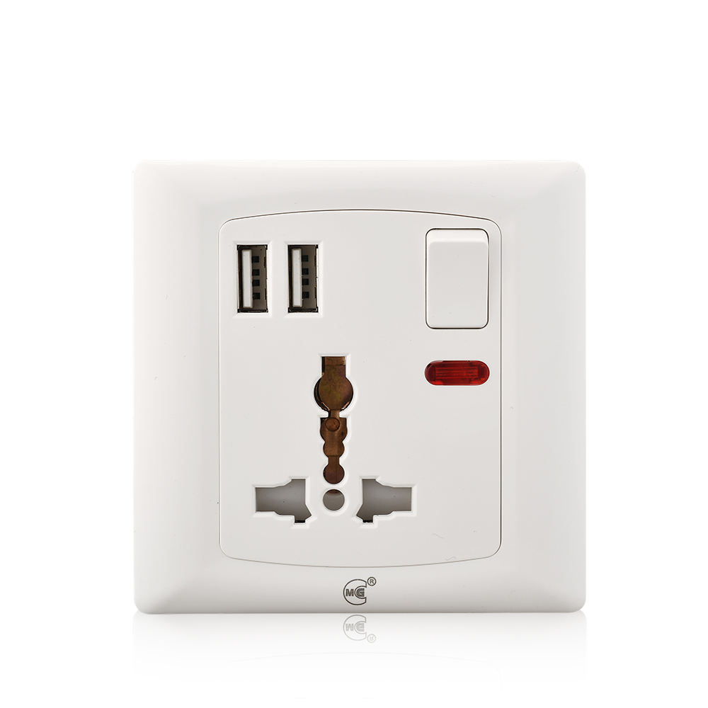 Enchufe de pared Youda Universal 220V eléctrico de 3 pines 13a enchufe múltiple de pared con USB