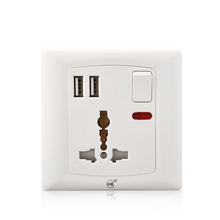 Youda Universal 220V electrical 3 pin plug 13a multi wall socket with USB