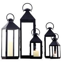 Windproof Large Size Black Candle Lantern Courtyard And Home Decorative Metal Classical Candle Lantern