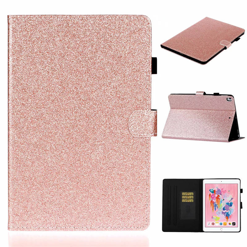 Hot Sale Auto Wake Sleep Glitter Shiny PU Leather Cover for iPad Pro 10.5 Fashion Card Wallet Stand Flip Case for iPad 7/Air 3