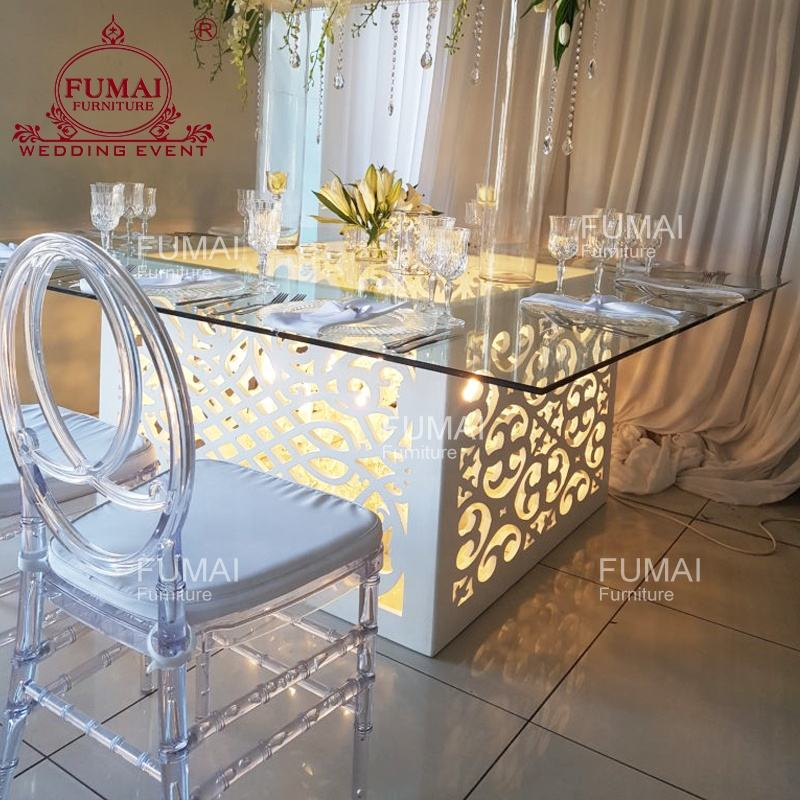 Wood base modern banquet dining table luminous with glass top