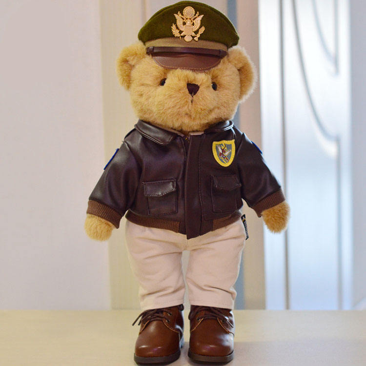 40cm boys gift air force soldiers plush toy flight officer teddy bear