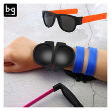 Wrist Sun Glasses Folding Wristband Slap On Sunglasses Gafas Plegable Bracelet Colorful Sunglasses For Men