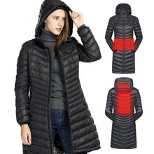 SNOWWOLF 2019 Women Winter Duck Down Jacket USB Infrared Heated Hooded Long Outdoor Sport Camping Fishing Thermal Heating Coat