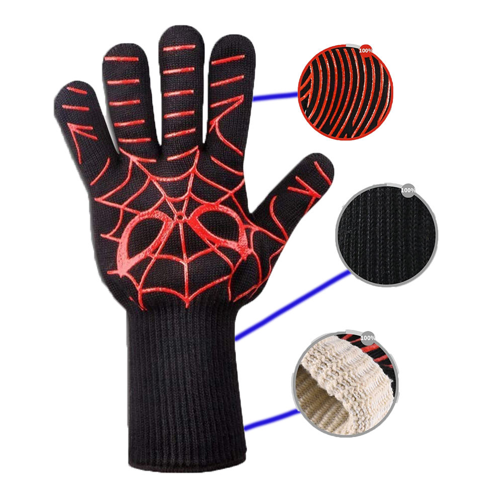 high quality pot holder fireplace gloves Heat Resistant Oven Mitts Silicone Non-Slip BBQ Gloves Food Grade Flexibility for Weld