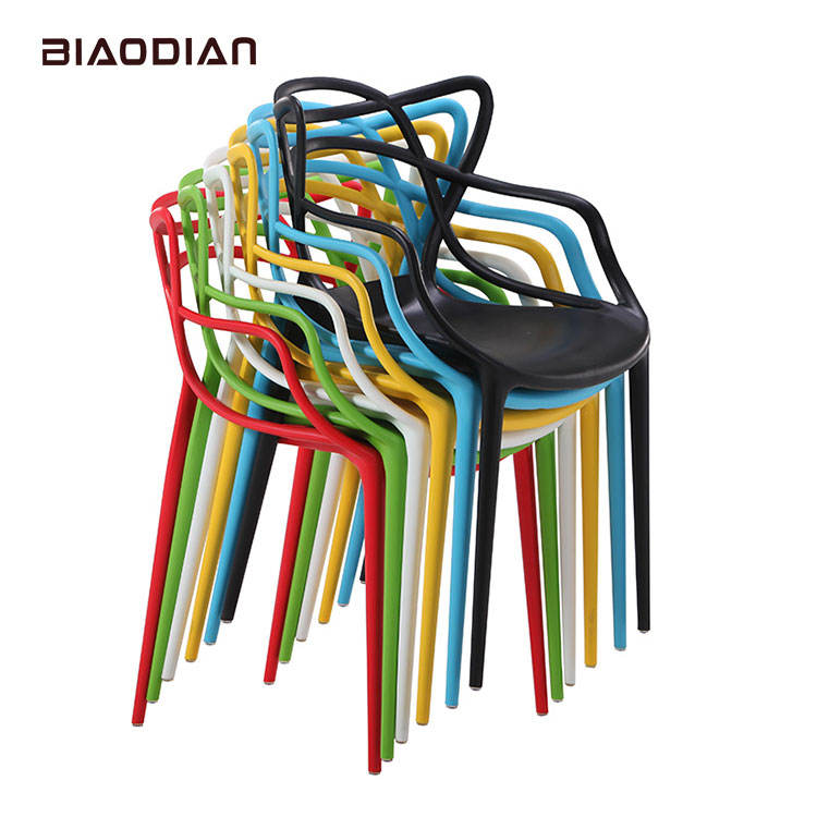 Outdoor Furniture Stackable Colorful Plastic Cafe Chairs With Tree Back