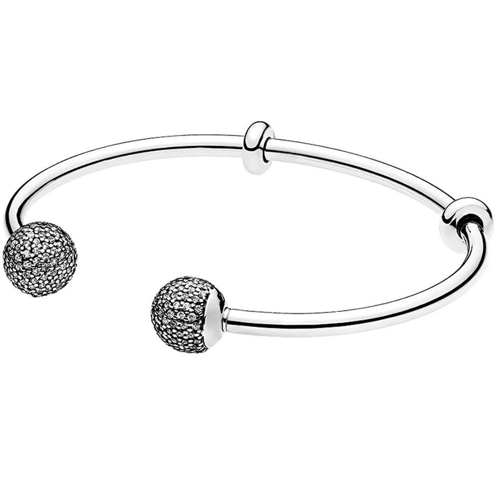 High quality sterling silver charms bangle wholesale fashion jewelry 925 silver bracelets