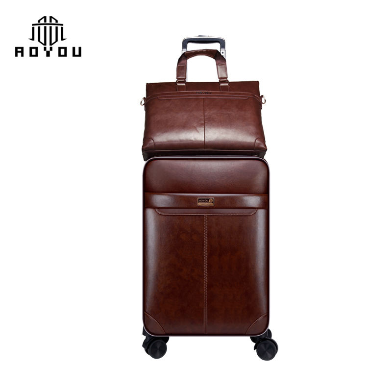 Pu leather trolley luggage set spinner 4 wheels suitcase zippers travel case with TSA Lock and Handbag