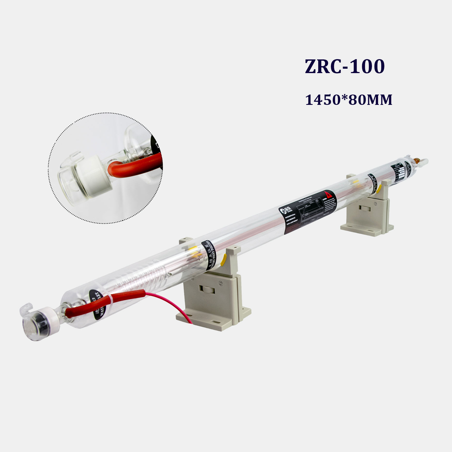 SHZR 80mm 80W 100W 130W 150W 170W CO2 laser tube 100W glass co2 laser tube With 9mouths warranty