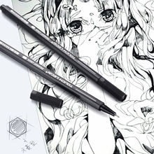 Black Master Markers Micro-Pen Fineliner Ink Pens 10 Pens with Micro Fine Point, Brush & Calligraphy Tip Nibs