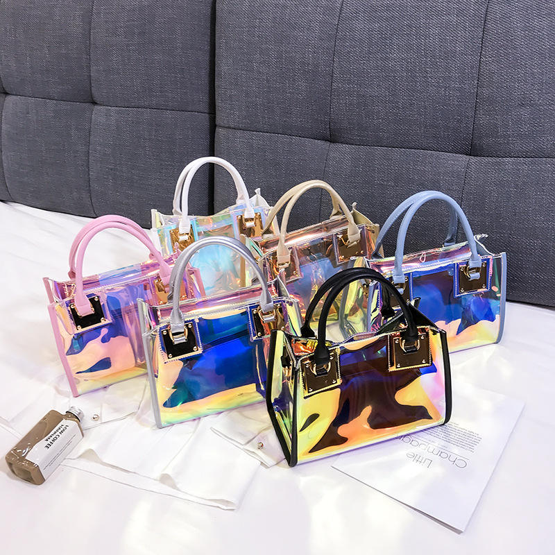 Wholesale women hand bags ladies shoulder bag 2 Pcs set Holographic Waterproof Transparent Tote Bag Clear Pvc Jelly Handbag