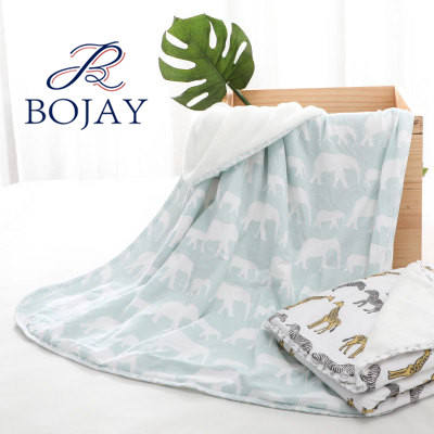 Two-layer blanket Super Soft 100% Organic Cotton and Flannel Fleece Baby Blanket Printing Kindergarten Quilt