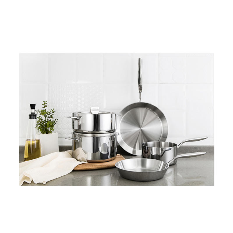 Most popular france design 3ply stainless steel cookware 7pcs cookware set