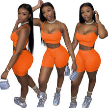 Casual Two Piece Set Women Clothing Sets Summer Tracksuit Crop Top and Biker Shorts 2 Piece Sets Womens Outfits Ensemble Femme