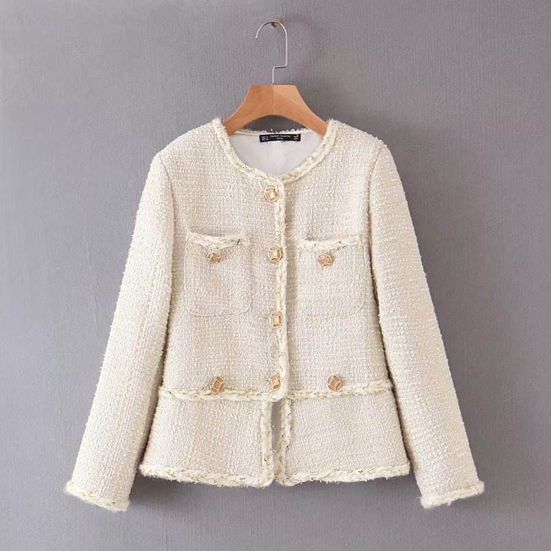 Tweed buttons decoration side pockets fashion autumn winter women's coats