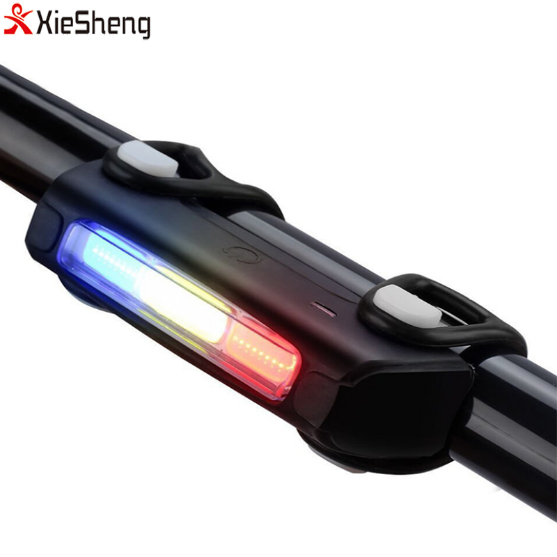Bright Waterproof Bicycle Tail light 7 Modes Riding at Night 3 Color Warning Light USB Charging Rear Bikes With COB Beads