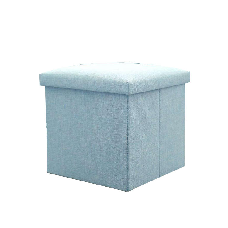 Hot popular multiple colors available cotton linen foldable storage box with lid