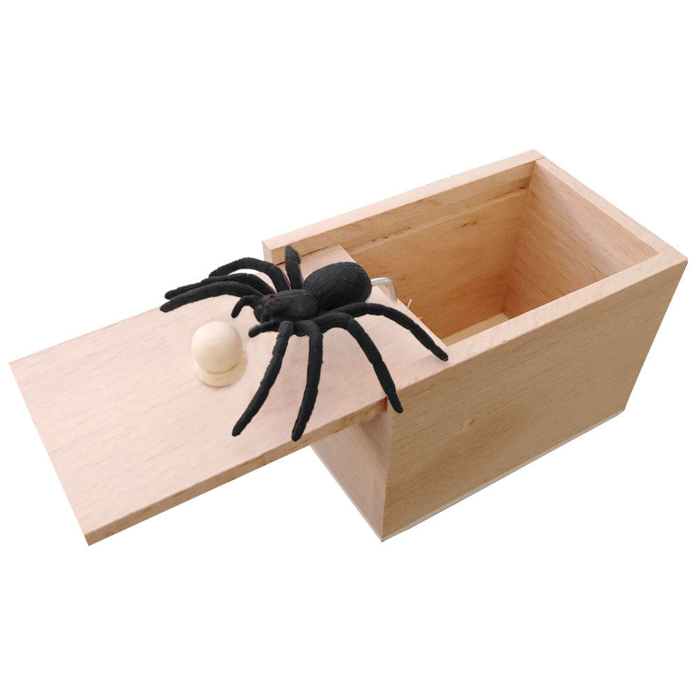 Gifts Toy Toy Toy Toy Spider Prank Box Handmade Wooden Practical Joke Boxes Prank Scare Spider Toy For Halloween Party And Gift Box