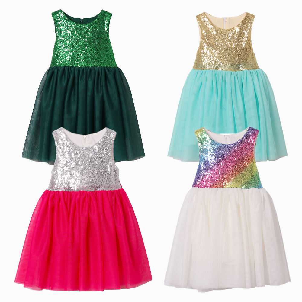 Toddler Girl Sequin Tutu Dress Party Baby Girls Princess Ball Gown Boutique Flower Girls Wedding Dress Special Occasion Fairy 4t