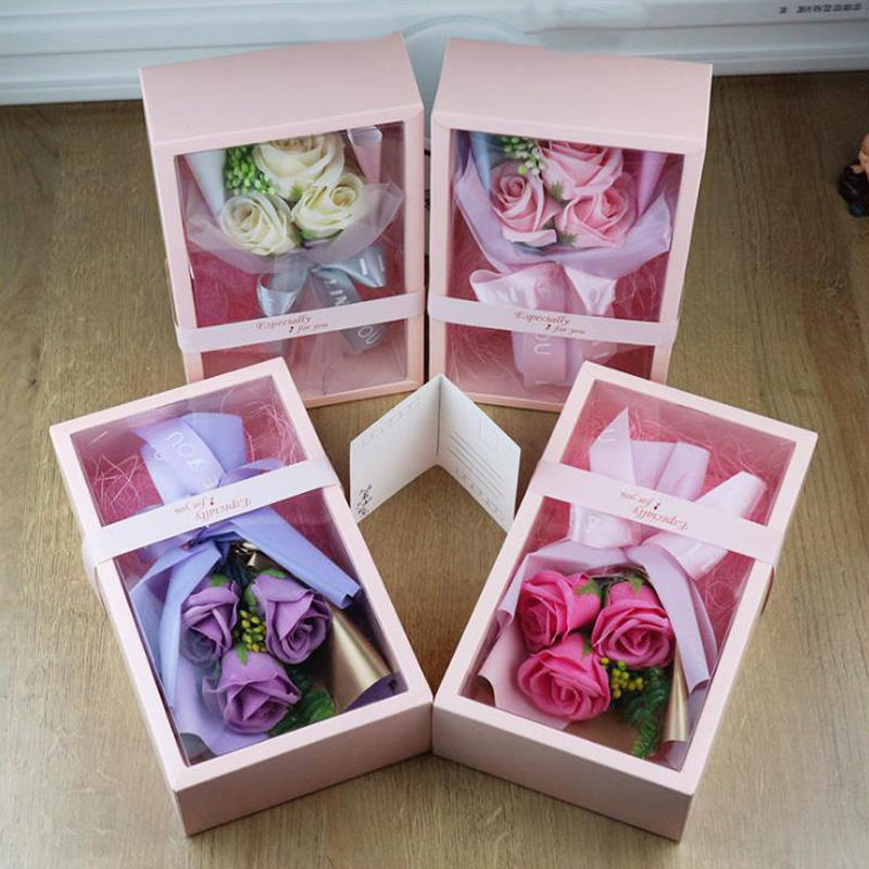 Best Selling Valentine's Day Rose Wedding Decoration Festival Gifts Soap Flowers Bouquet Giftbox Packing Home Ornaments