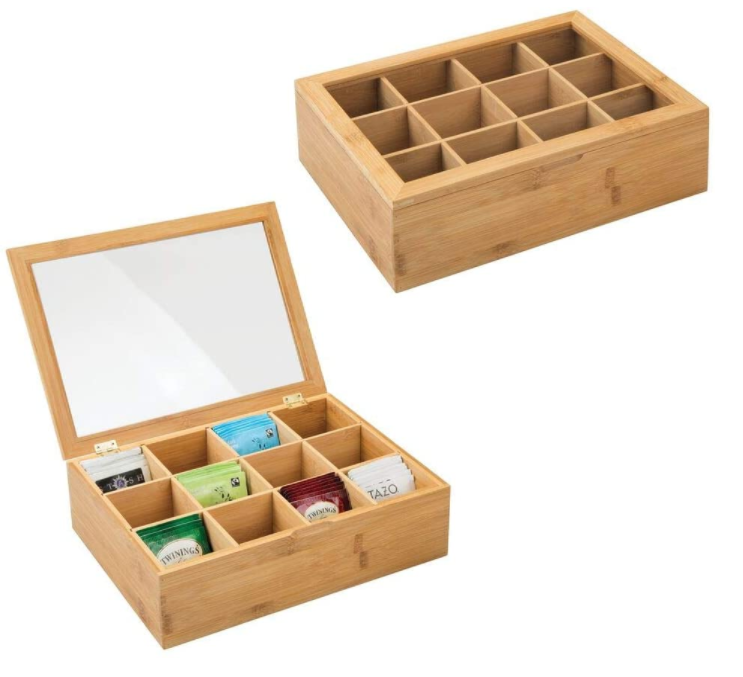 12 Compartments Rectangular Bamboo Tea Storage Box With Acrylic lid