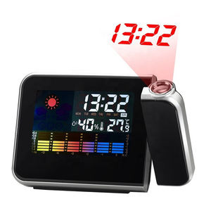 Colorful LCD Smart Electronic Desktop Table Desk LED Laser Ceiling Digital Projection Alarm Clock with Weather Station