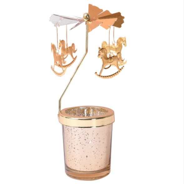 Supplier hot sale gift table decorative merry-go-round shape golden rotating candle holder set with glass candle jar