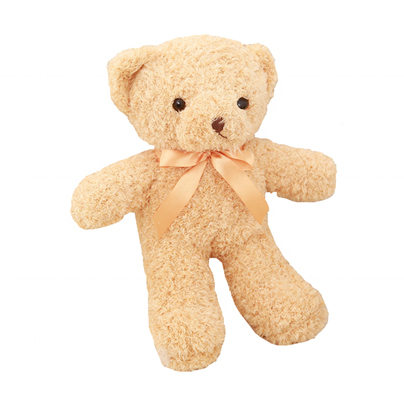 "12"" Full Length Light Brown Small Plush Teddy Bear with Ribbon or Not"