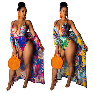 Summer fashion beach wear lady sexy nice print bikini set with long cover up