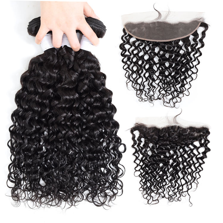 Apple Girl Water Wave Bundles With Frontal Remy Human Hair Peruvian Hair Weave 3 Bundles With Frontal Double Weft