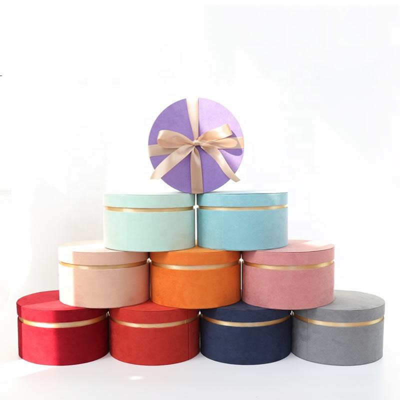 High Quality Popular Promotions Handmade Luxury Round Velvet Flower Boxes For Flowers Boxes For Roses Packaging