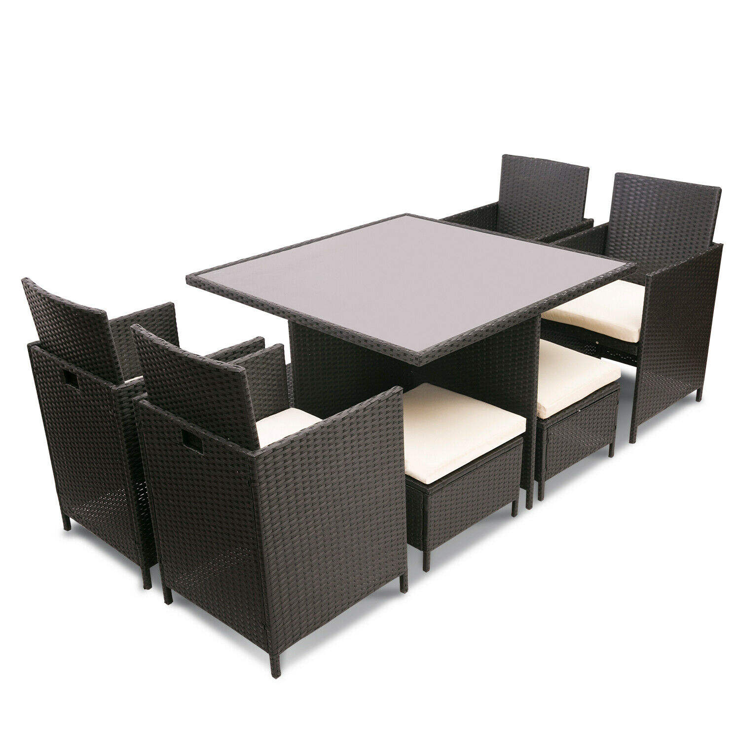 Easy Cleaning Outdoor Garden Table Set Dining Furniture Cube Set Garden Rattan Dining Set