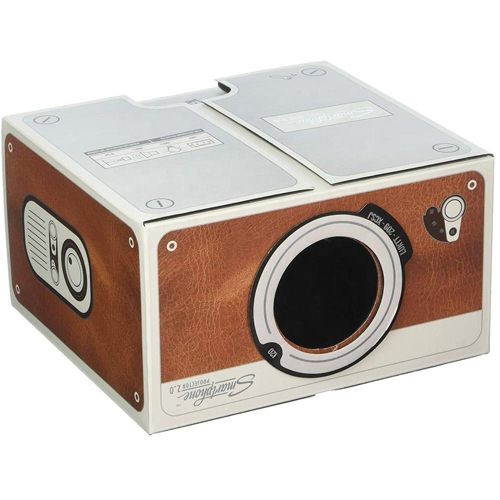 DIY portable brown color paper material smartphone projector