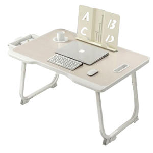 folding laptop desk for bed study table with drawer cup holder computer stand home office furniture