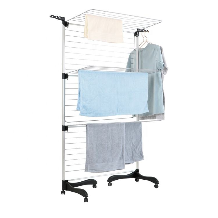 Factory Supplying Traditional 3 tier Aluminum drying foldable rail pet clothes cloth hanger rack