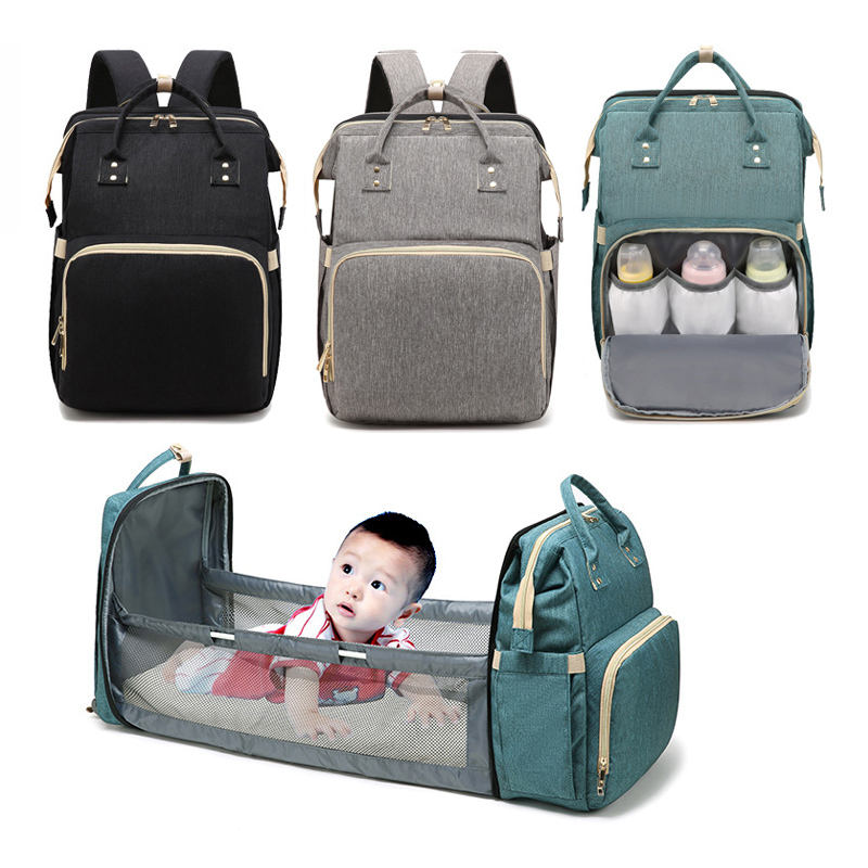 Fashion Multifunction Nappy Bag Water Resistant Bigger Mummy Baby Bag Backpack Travel Portable Baby Crib Diaper Bag With Bed